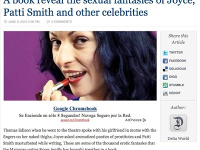 The Delta World | A book reveal the sexual fantasies of Joyce, Patti Smith and other celebrities