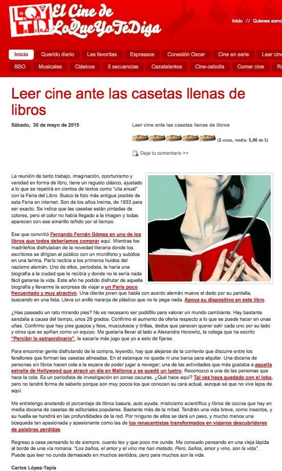 carlos lopez tapia seleccion libros de cine el ecuador de ulises feria del libro 2015