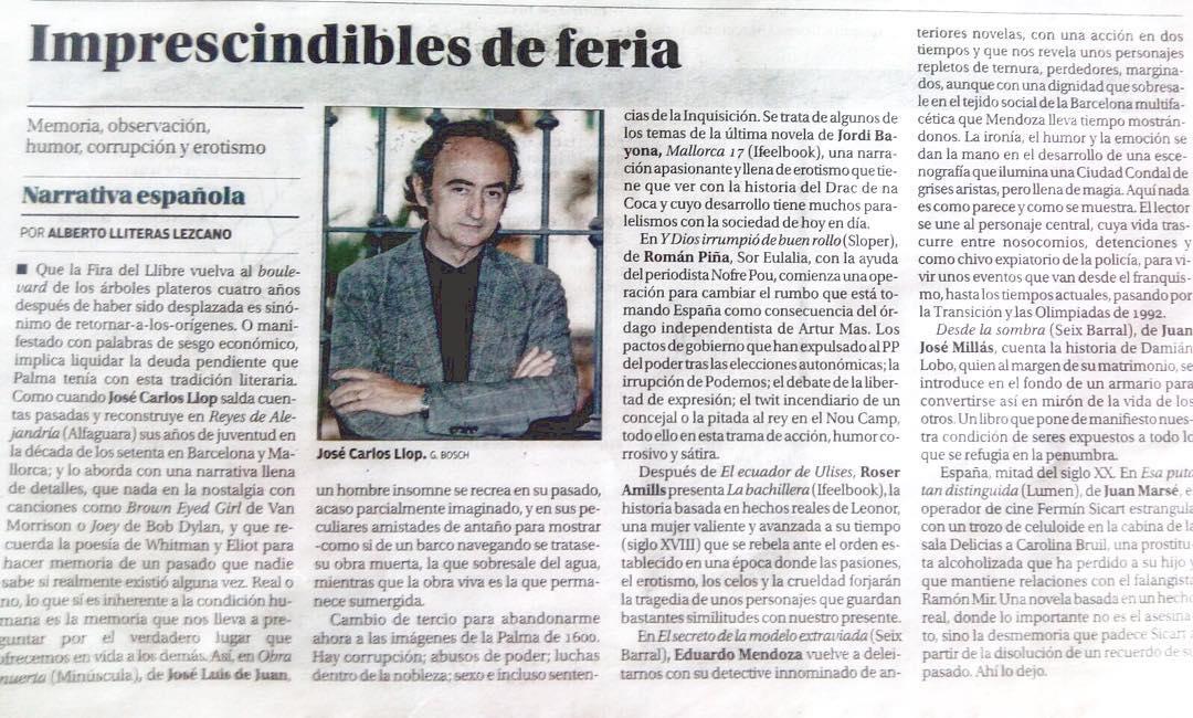 Un honor: El Diario de Mallorca habla de #labachillera con Juan Marsé, Jose Carlos Llop, Mendoza, Jordi Bayona, Juan Jose Millás ...