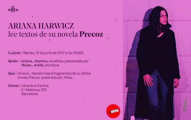 Hoy tenemos una cita: presento a la gran @arianaHar en @la_central_ a las 19h #lecturaharwicz