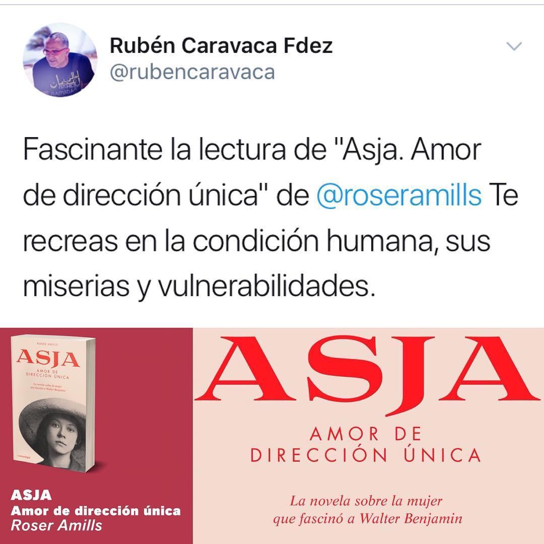 "Muchas gracias @rubencaravaca por tu entusiasmo con la lectura de ""Asja"" #asjalacis & #walterbenjamin"