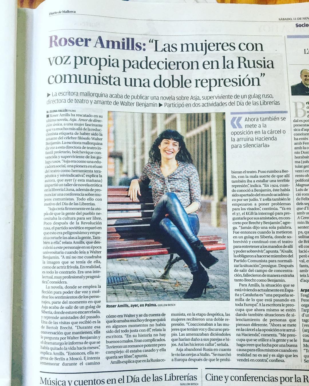 entrevista a roser amills @elena_valles ? Feliz sábado con @diariodemallorca y #asjalacis [y qué cómoda mi blusa de @snobiliaire #ropaparagentequelee ;)) ]