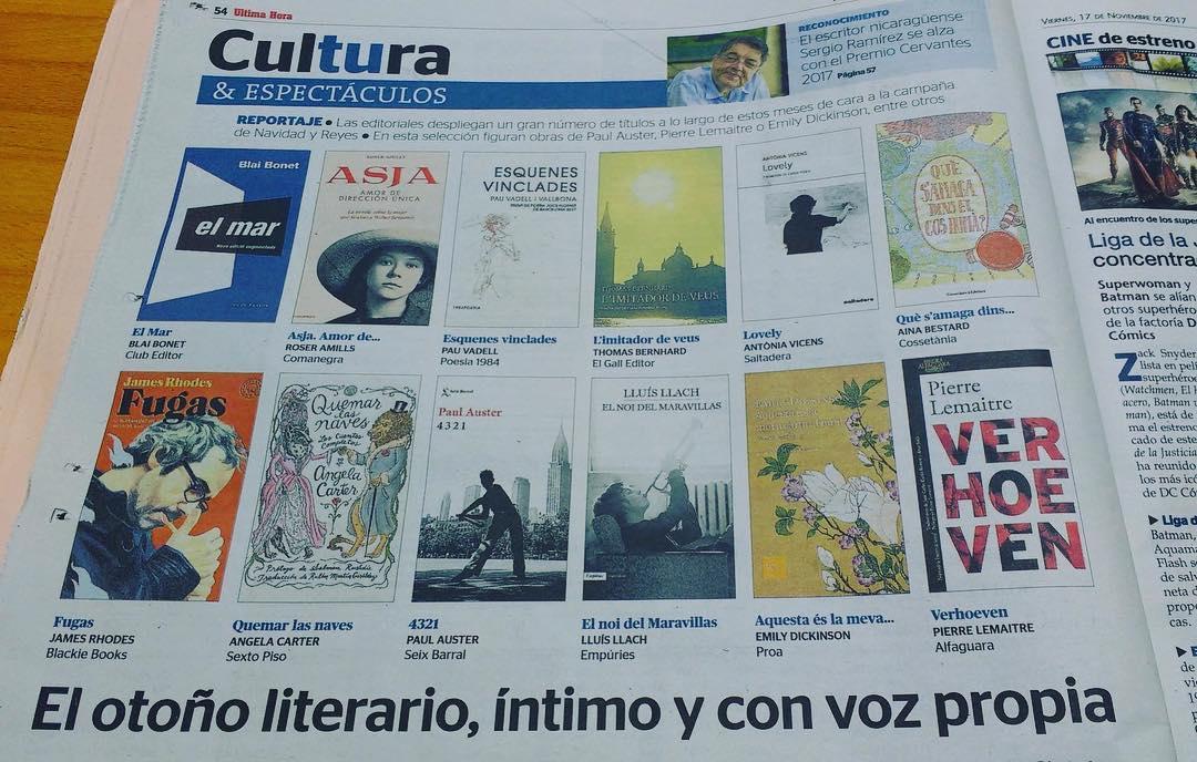 Reportaje en #UHmallorca con las novedades literarias del otoño. #asjalacis & #walterbenjamin @Comanegra @Seix_Barral @BlackieBooks @alfaguaramex @realpaulauster