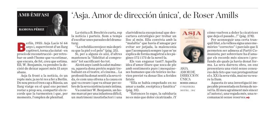 Llegim Ara Balears   Ressenya de Ramona Pérez: 'Asja. Amor de dirección única', de Roser Amills