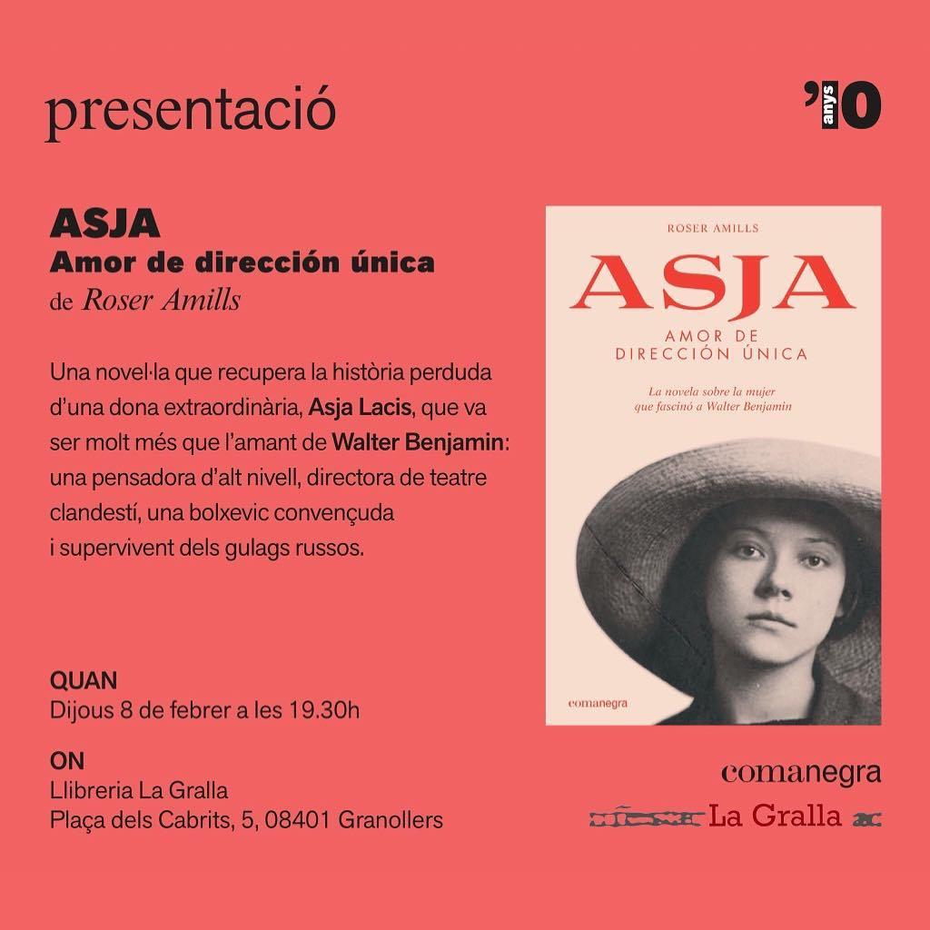 """Presento la meva novel·la """"Asja. Amor de dirección única"""" a #Granollers. Tota la info de la trobada: 📅 dijous 8 de febrer ⌚️ 19.30h 📍 Llibreria @llibrerialagralla"""