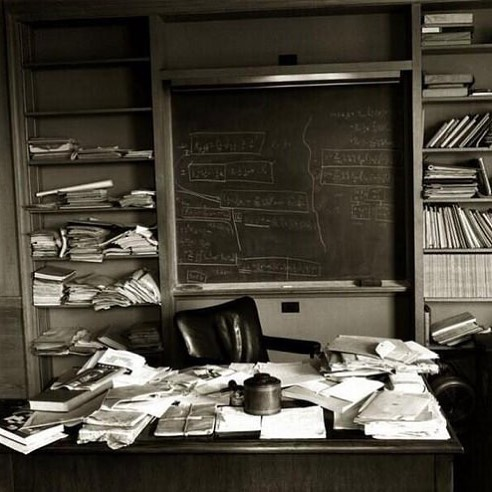Albert Einstein's Princeton office exactly as he left it when he died on April 18th 1955