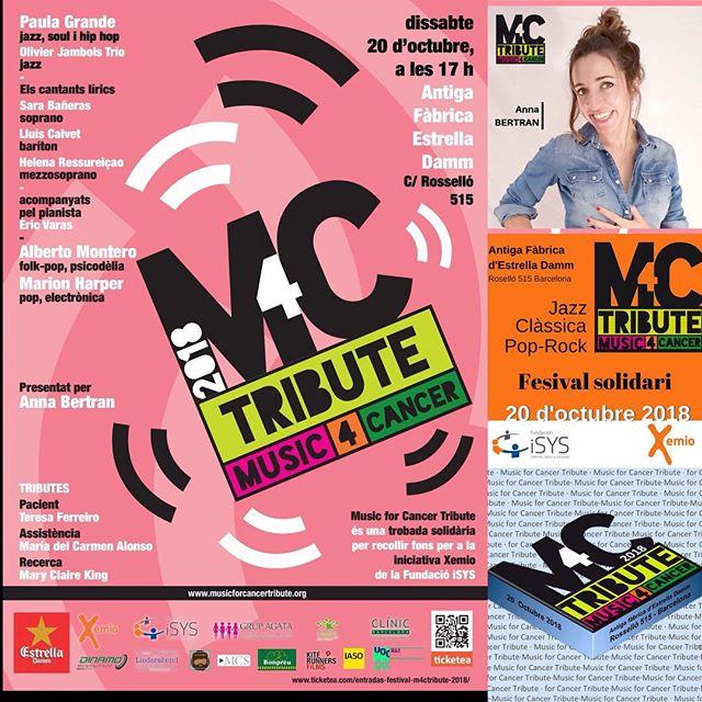 Dissabte aniré a veure la maravellosa @AnnaBertran, presenta el súper festival solidari Music for Cancer Tribute #M4CTribute @estrelladamm ens veiem allà, ho passarem bé!