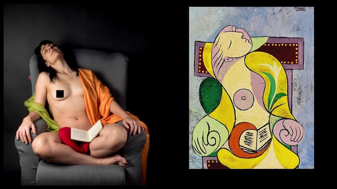 La Lecture (Pablo Picasso, enero 1932) y La Lectura (@raimonmoreno, enero 2019) en el 87 aniversario de que Marie-Thérèse Walter se durmiera con un libro sobre su regazo #picasso #marietheresewalter #lalecture #87yearchallenge