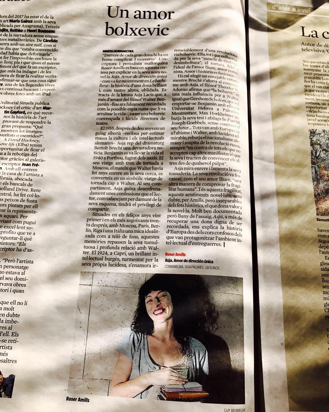 Roser Amills CULTURA'S de @lavanguardia #asjalacis #walterbenjamin @comanegra