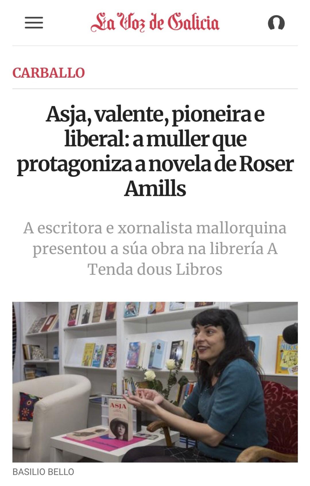 La Voz de Galicia   Asja, valente, pioneira e liberal: a muller que protagoniza a novela de Roser Amills