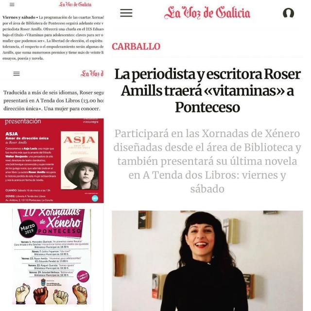 La Voz de Galicia | La periodista y escritora Roser Amills traerá «vitaminas» a Ponteceso