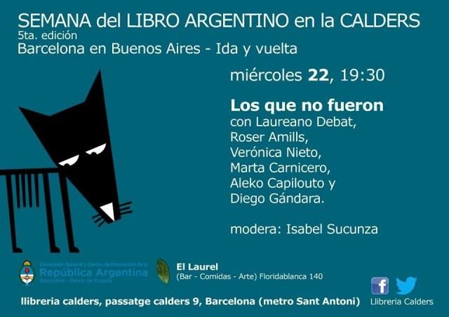 Participo en la Semana del libro argentino en Llibreria Calders de Barcelona