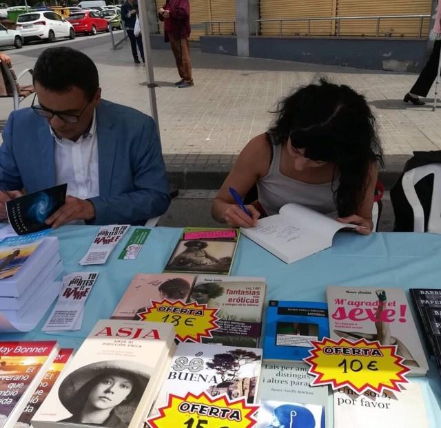 Libros de Roser Amills en la I Feria del Libro de La Llagosta, 2019 con Resistencia Literaria