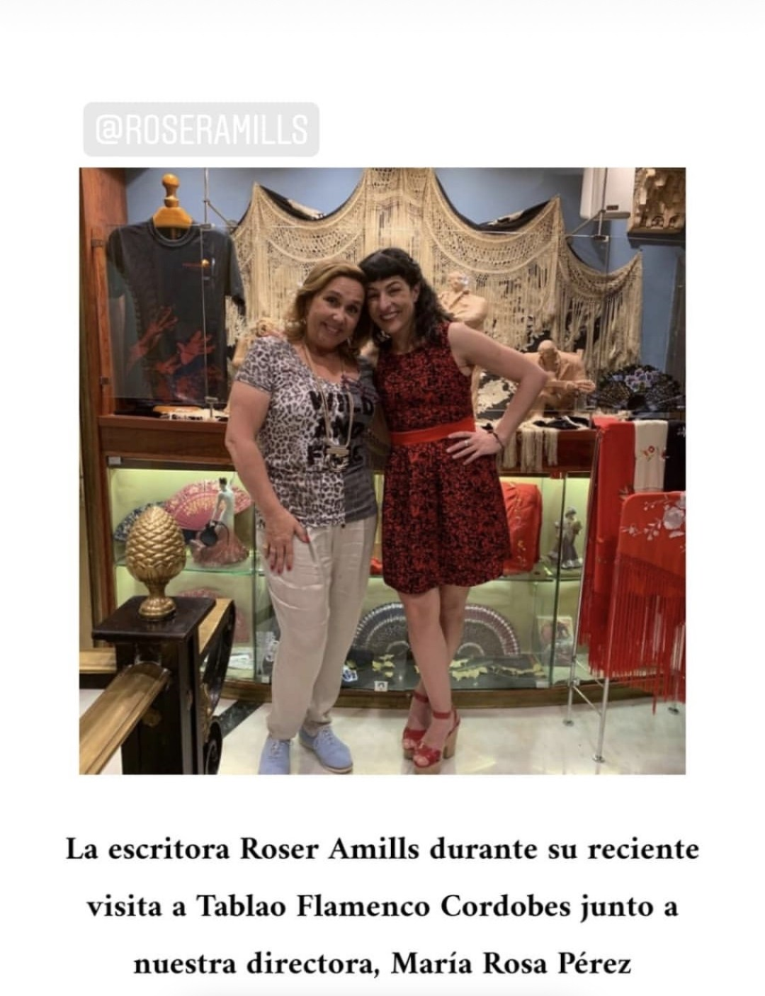 The novelist and collaborator on TV3 and RNE Roser Amills visits Tablao Flamenco Cordobes