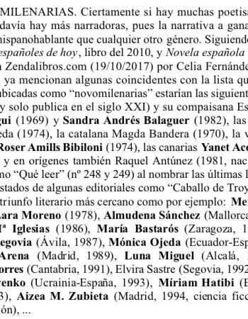 ESCRITORAS NOVOMILENARIAS. ERUDITAS DEL XXI (por Jesús V. Magdalena Carreres, marzo 2019)
