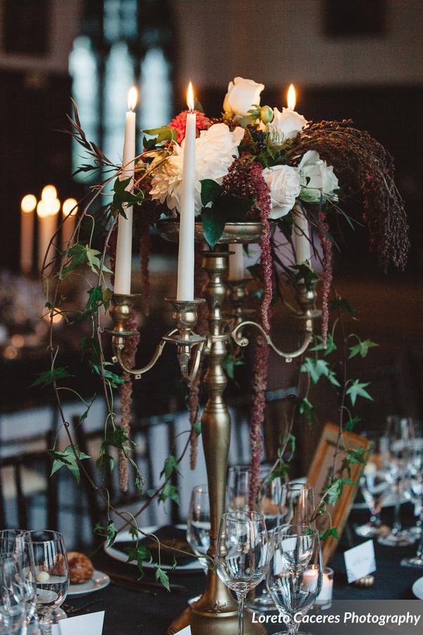 Candelabra and dahlias for an October Wedding