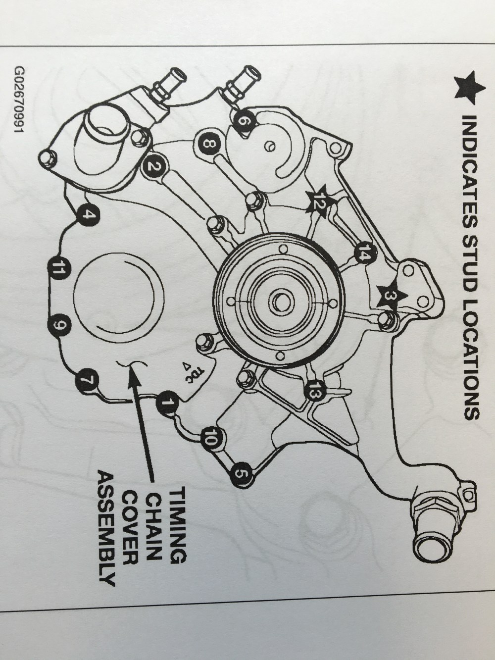 medium resolution of after removing all the timing cover bolts and studs remove any remaining gasket and or adhesive from the cover and engine block face being very careful not