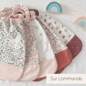 serviette table cantine maternelle enfant tour de cou elastique