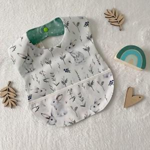 bavoir plastifié imperméable bébé en tissu enduit made in France motif lapins