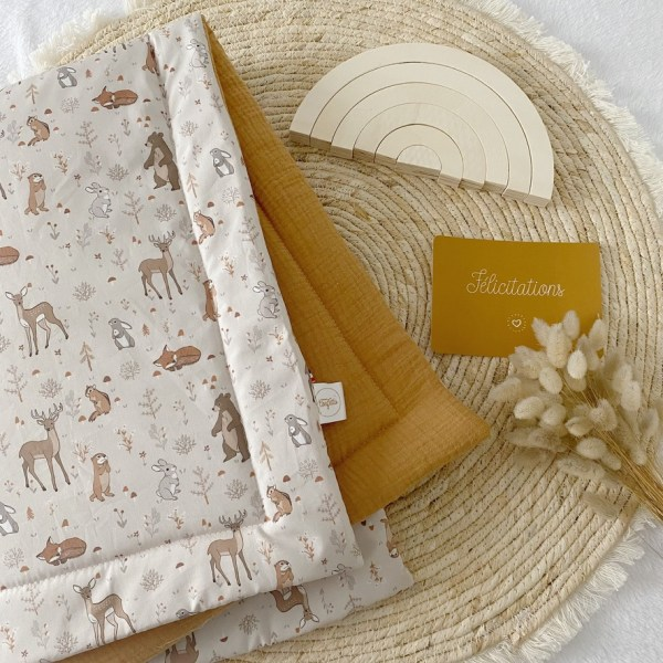 couverture double gaze bebe little woodland made in France