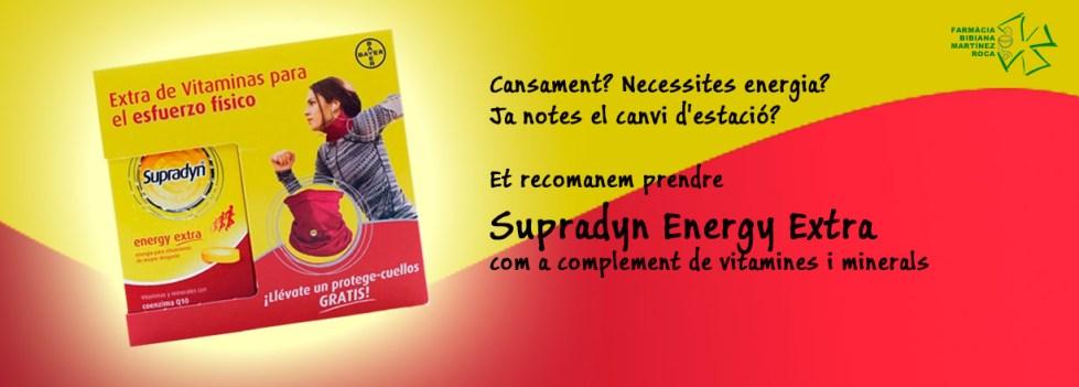 a Farmàcia Bibiana Supradyn Energy Extra com a complement de vitamines i minerals que a més a més conté Coenzim Q10 per donar-te més energia!