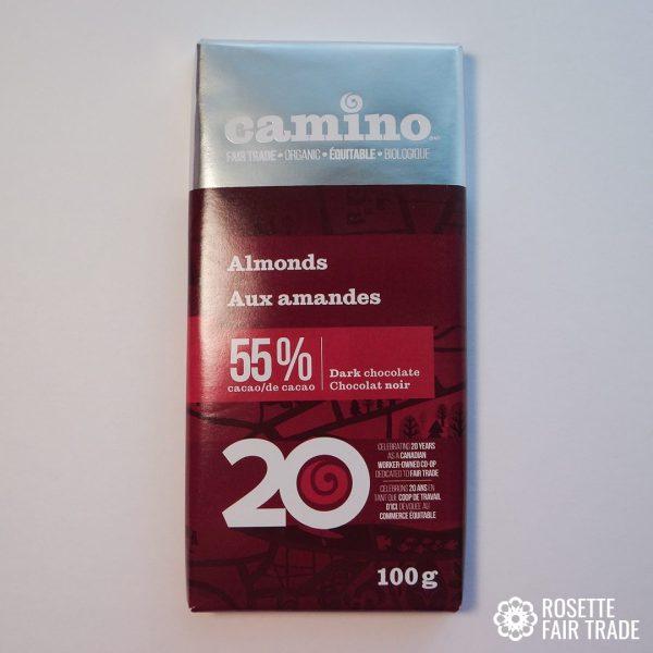 Almond dark chocolate by Camino on Rosette Fair Trade
