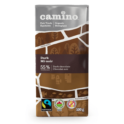 Fairtrade dark chocolate bar by Camino on Rosette Fair Trade online store