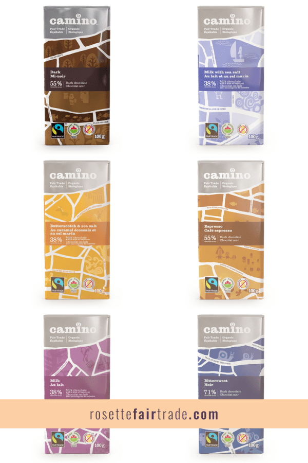 Fairtrade dark chocolate by Camino on Rosette Fair Trade