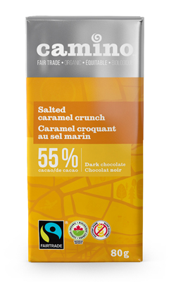 Salted caramel dark chocolate bar (55%) by Camino available on Rosette Fair Trade online store