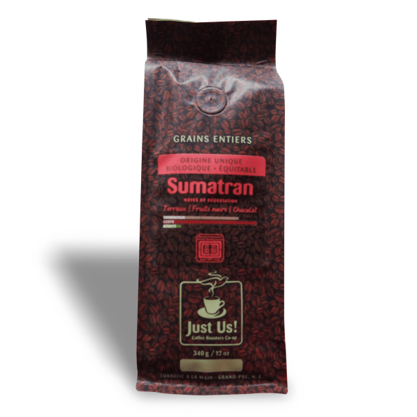 Fairtrade dark roast coffee (Sumatran) by Just Us Coffee available on Rosette Fair Trade online store French