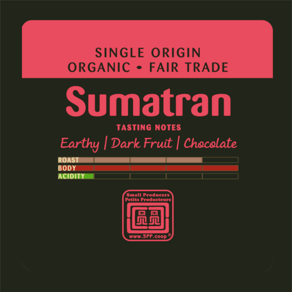 Fairtrade dark roast coffee (Sumatran) by Just Us Coffee available on Rosette Fair Trade online store