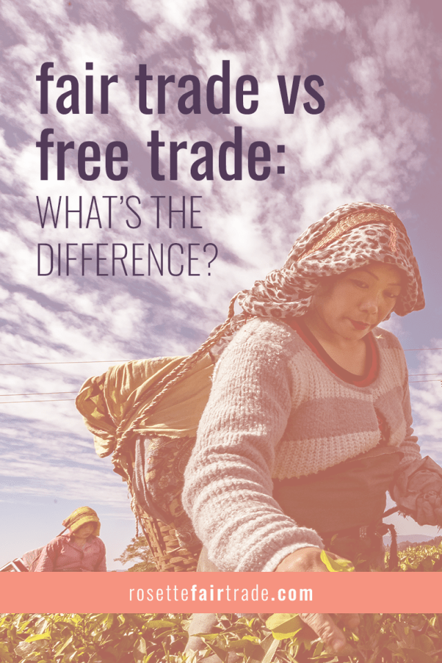 Fair trade vs free trade (conventional trade) differences, comparison and infographic on Rosette Fair Trade