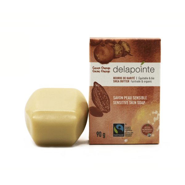 Orange cocoa butter soap (fairtrade) by Delapointe is available on Rosette Fair Trade
