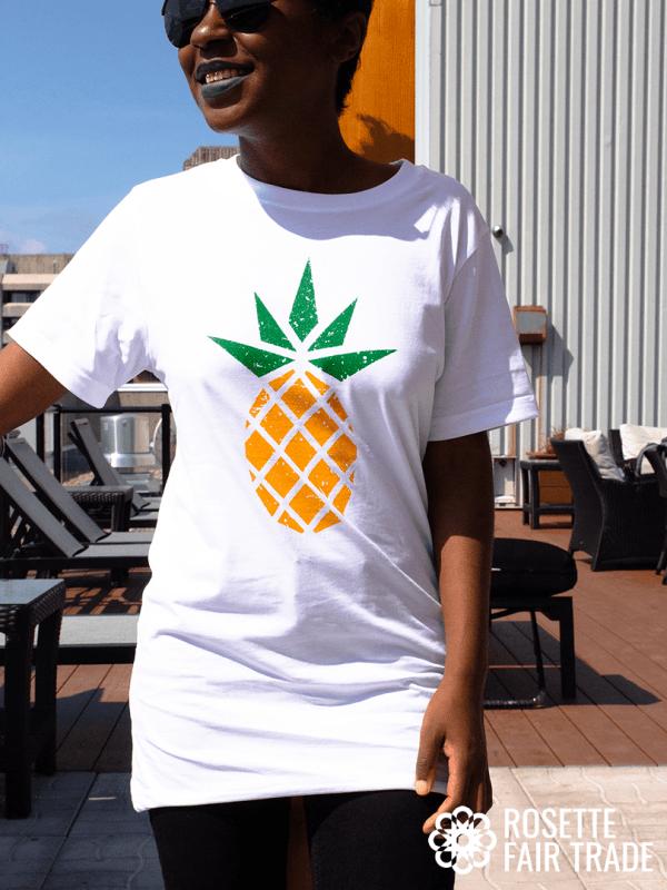 White fair trade organic t-shirt (pineapple design) - Rosette Fair Trade