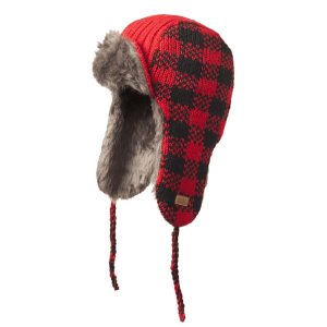 Knit aviator hat (Whistler) by Ark Imports in red check colour on Rosette Fair Trade