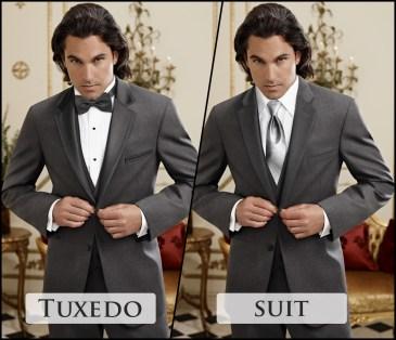 Grey suit or tuxedo