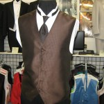 Brown Tuxedo vest and long tie