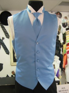 Baby Blue vest and matching long tie