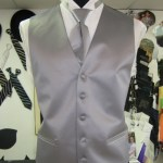 Solid Silver Vest and Tie