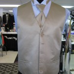 Gold full back vest and long tie