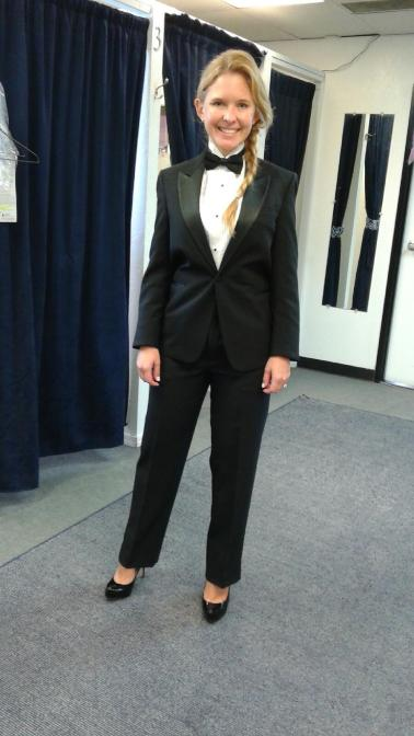 It's a female tuxedo from Rose Tuxedos