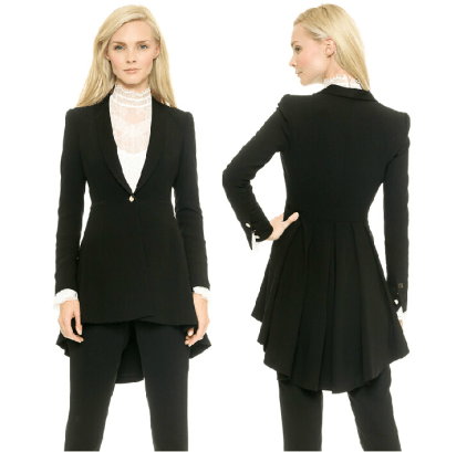 Blacktails look great on the female tuxedo. Rent yours at Rose Tuxedo.