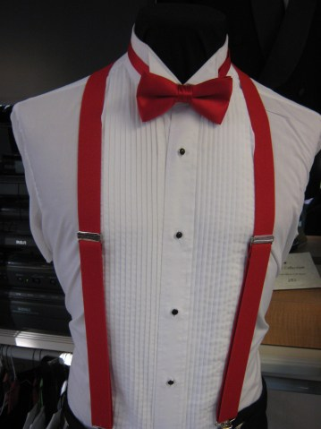 Red Suspenders with Match Bow-Prom!!