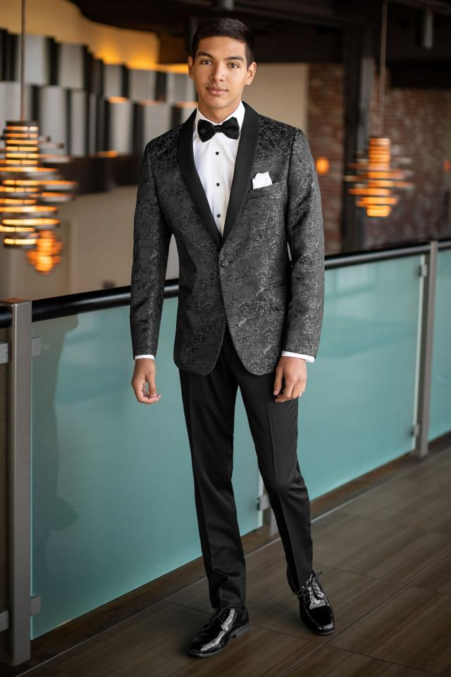 Paisley Tuxedo Jacket Grey
