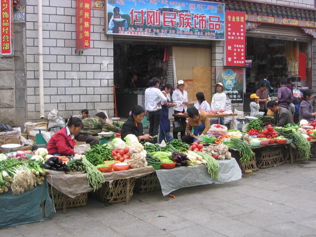 Mercadillo en Lhasa