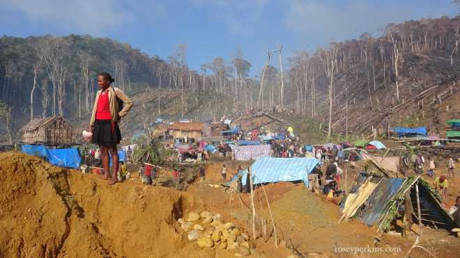 "Miner and Tented Community at ""rush site"" near Ambatondrazaka, Madagascar. October 2016"