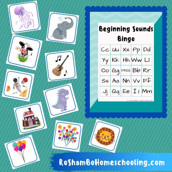 RoShamBo Homeschooling printable preschool and kindergarten game set beginning sounds bingo