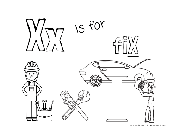 RoShamBo Homeschooling printable coloring sheet of the letter X