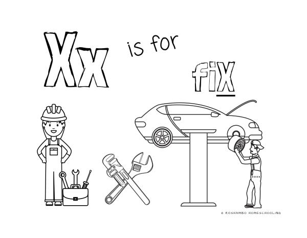 RoShamBo Homeschooling printable coloring sheet of the letter X