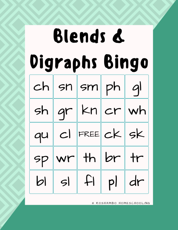 RoShamBo Homeschooling printable game blends and digraphs bingo game board